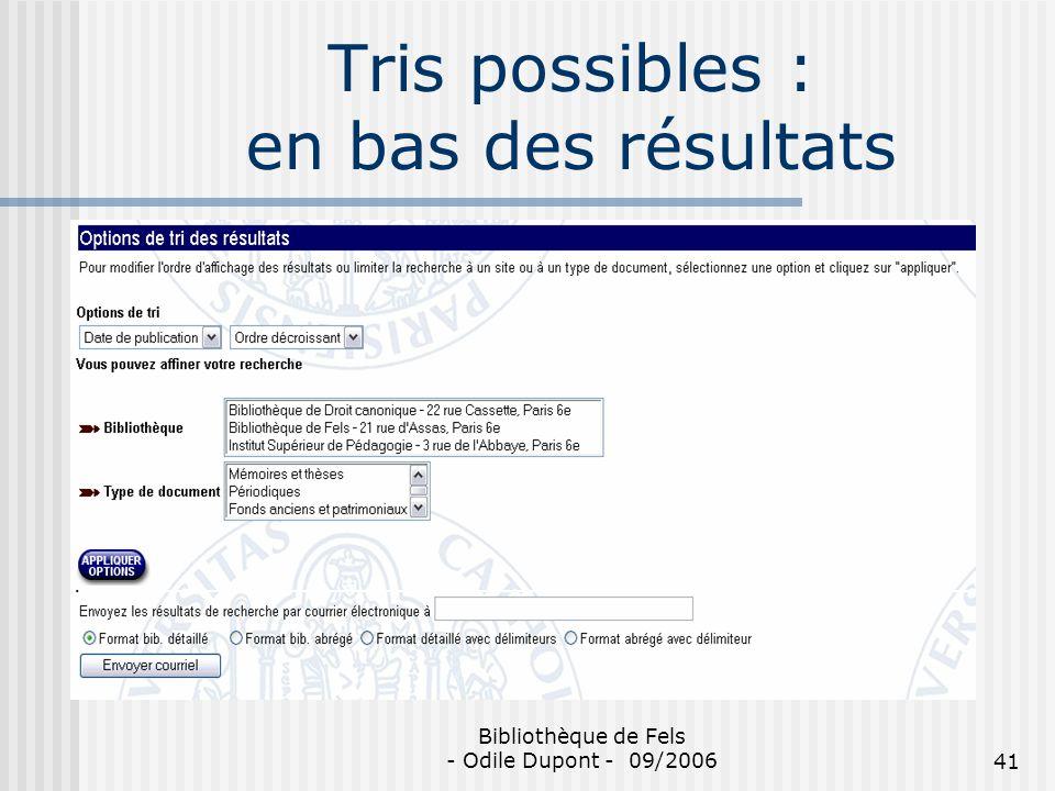 Tris possibles : en bas des résultats