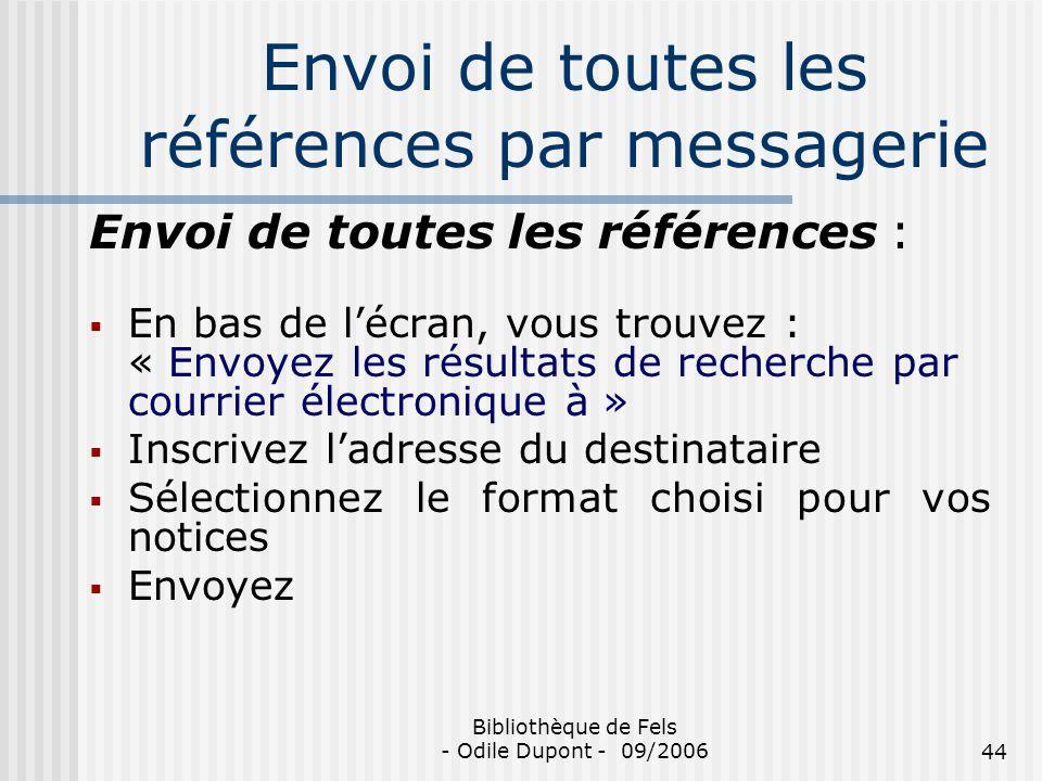 Envoi de toutes les références par messagerie