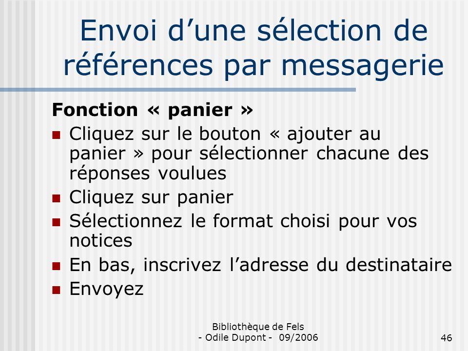 Envoi d'une sélection de références par messagerie