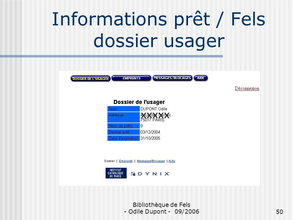Informations prêt / Fels dossier usager