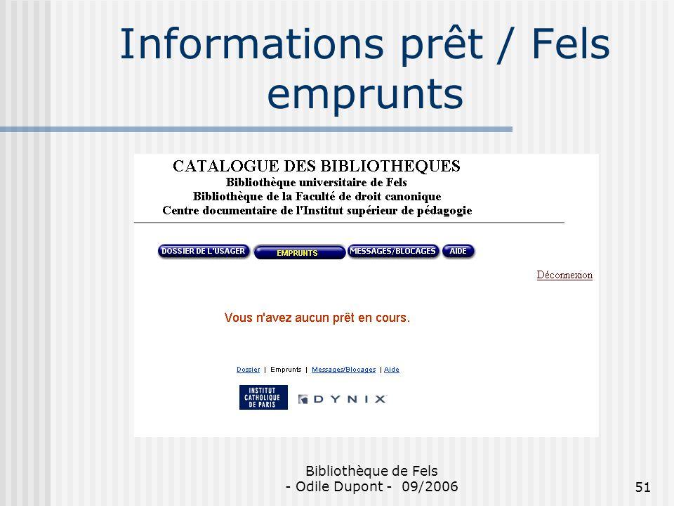 Informations prêt / Fels emprunts
