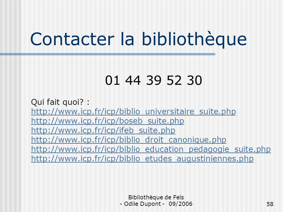 Contacter la bibliothèque