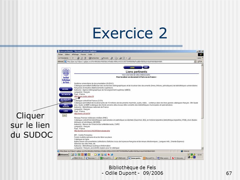Exercice 2 Cliquer sur le lien du SUDOC