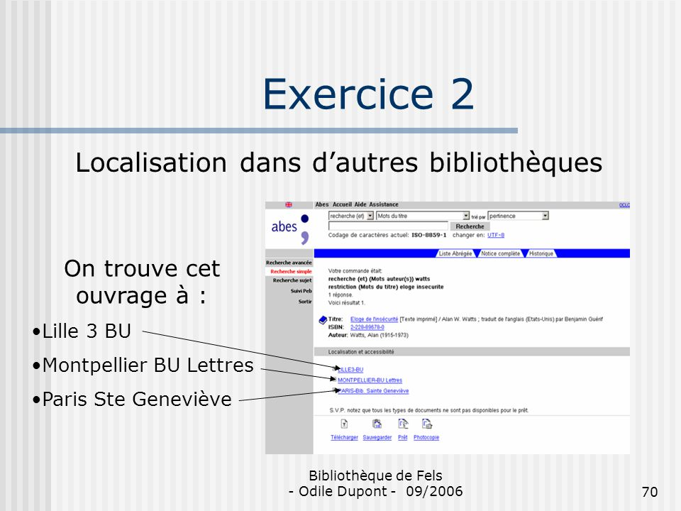 Exercice 2 Localisation dans d'autres bibliothèques