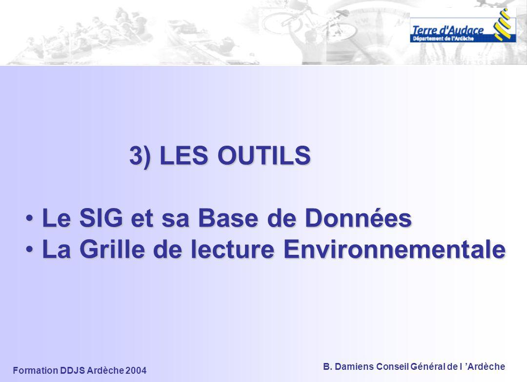 3) LES OUTILS Le SIG et sa Base de Données La Grille de lecture Environnementale