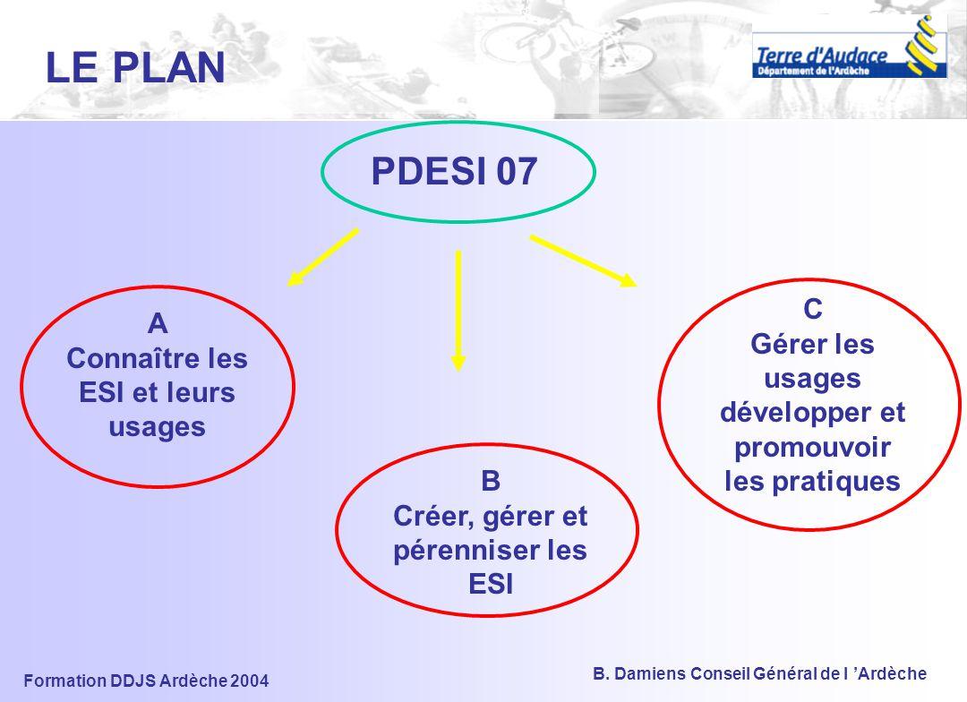 LE PLAN PDESI 07. C Gérer les usages développer et promouvoir les pratiques. A Connaître les ESI et leurs usages.