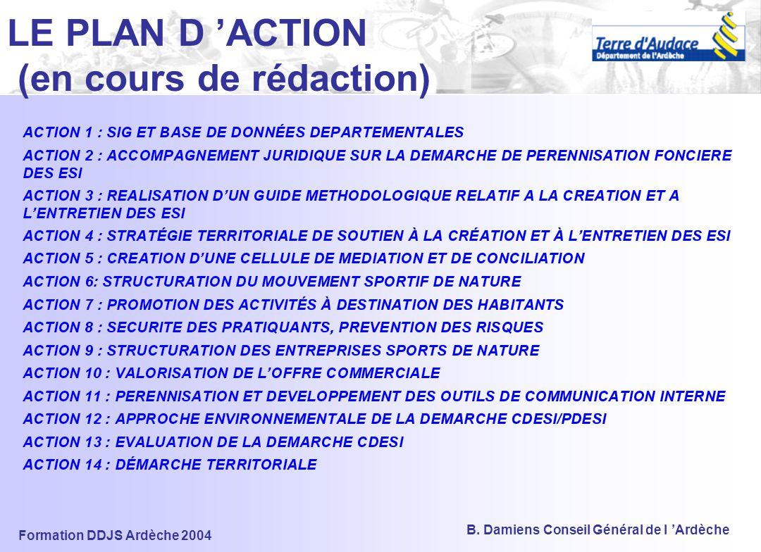 LE PLAN D 'ACTION (en cours de rédaction)