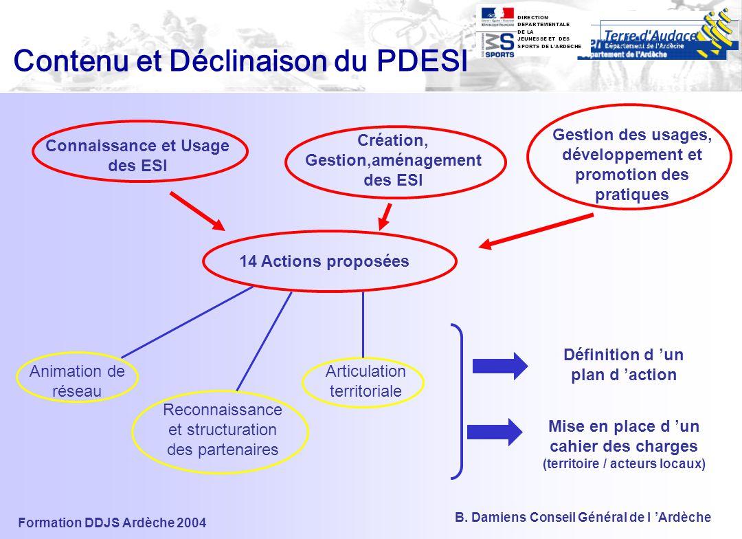 Contenu et Déclinaison du PDESI