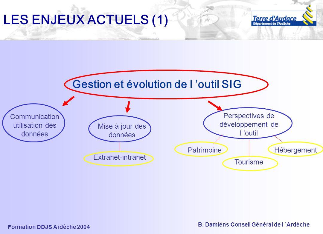 LES ENJEUX ACTUELS (1) Gestion et évolution de l 'outil SIG