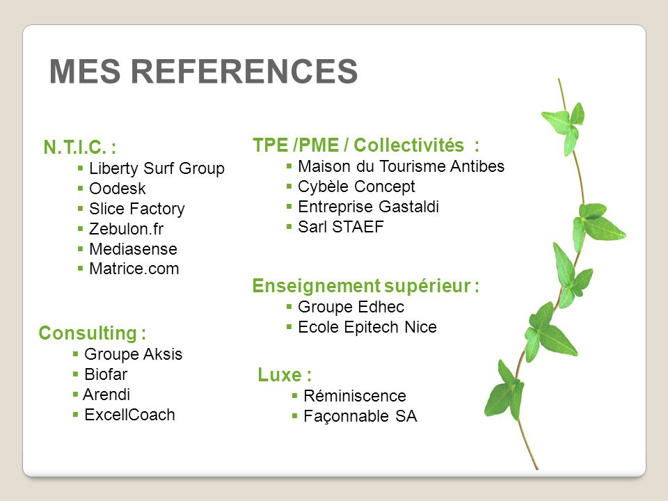 MES REFERENCES N.T.I.C. : TPE /PME / Collectivités :