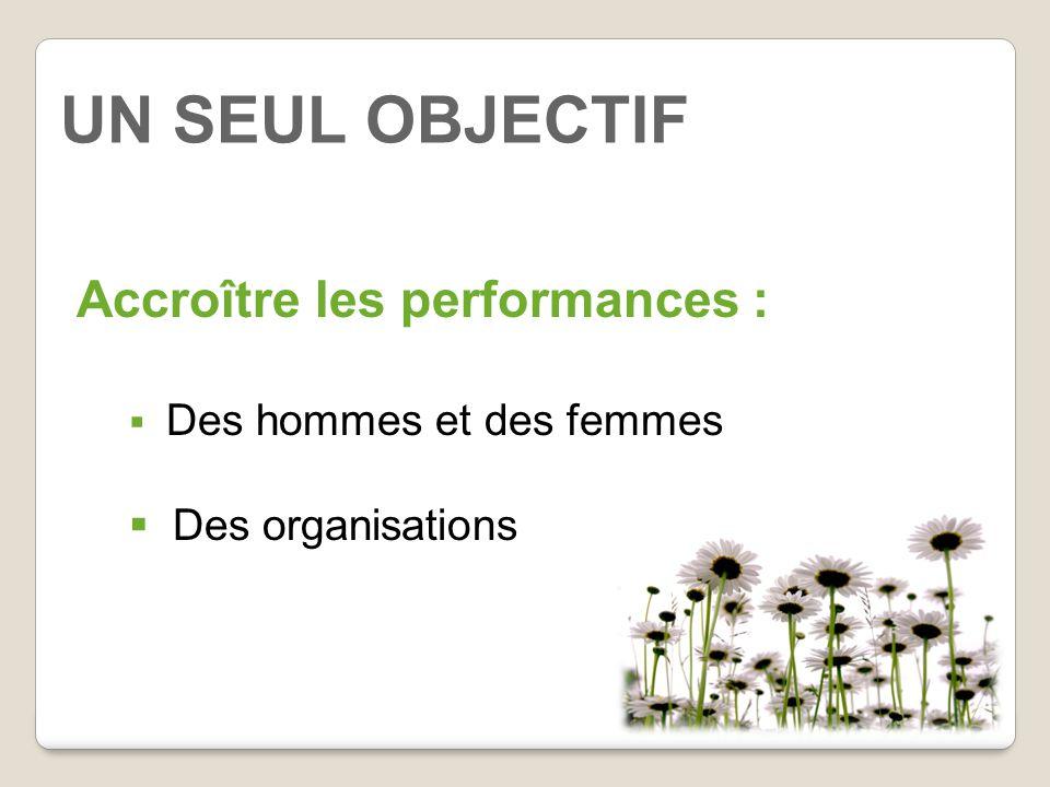 UN SEUL OBJECTIF Accroître les performances : Des organisations