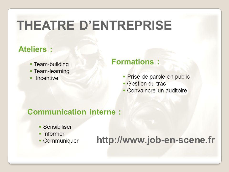 THEATRE D'ENTREPRISE http://www.job-en-scene.fr Ateliers :