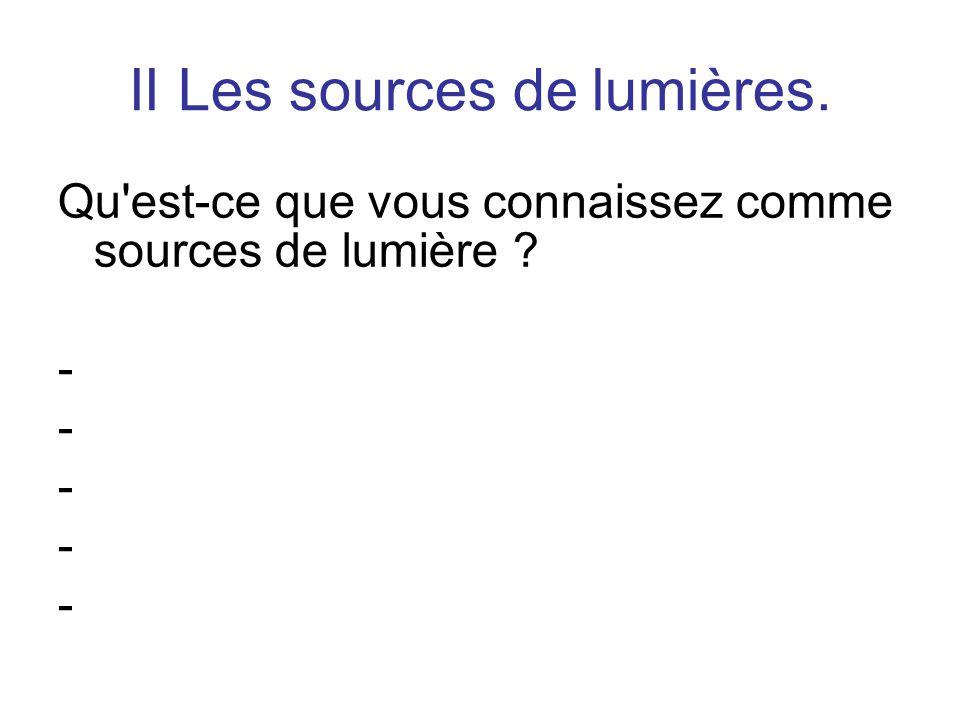 II Les sources de lumières.