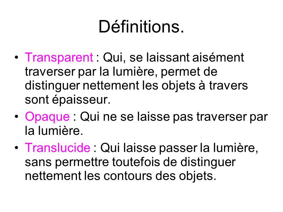 Définitions. Transparent : Qui, se laissant aisément traverser par la lumière, permet de distinguer nettement les objets à travers sont épaisseur.