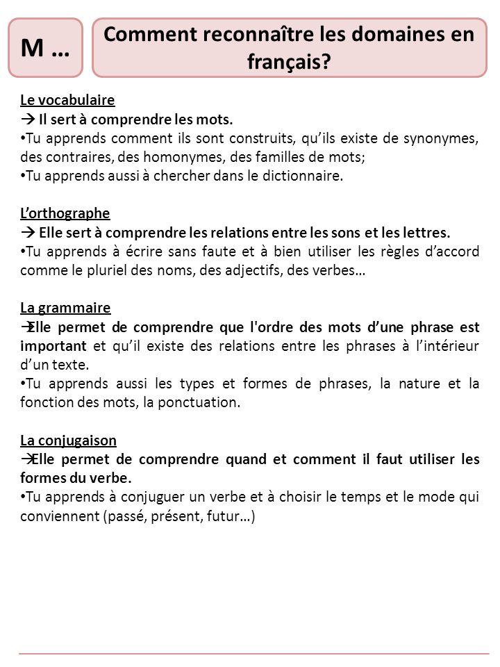 Comment reconnaître les domaines en français