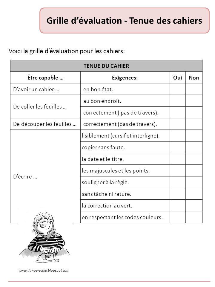 Grille d'évaluation - Tenue des cahiers