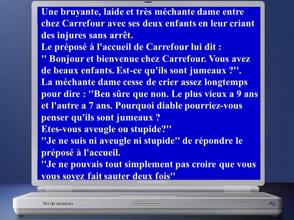 Une bruyante, laide et très méchante dame entre chez Carrefour avec ses deux enfants en leur criant des injures sans arrêt.