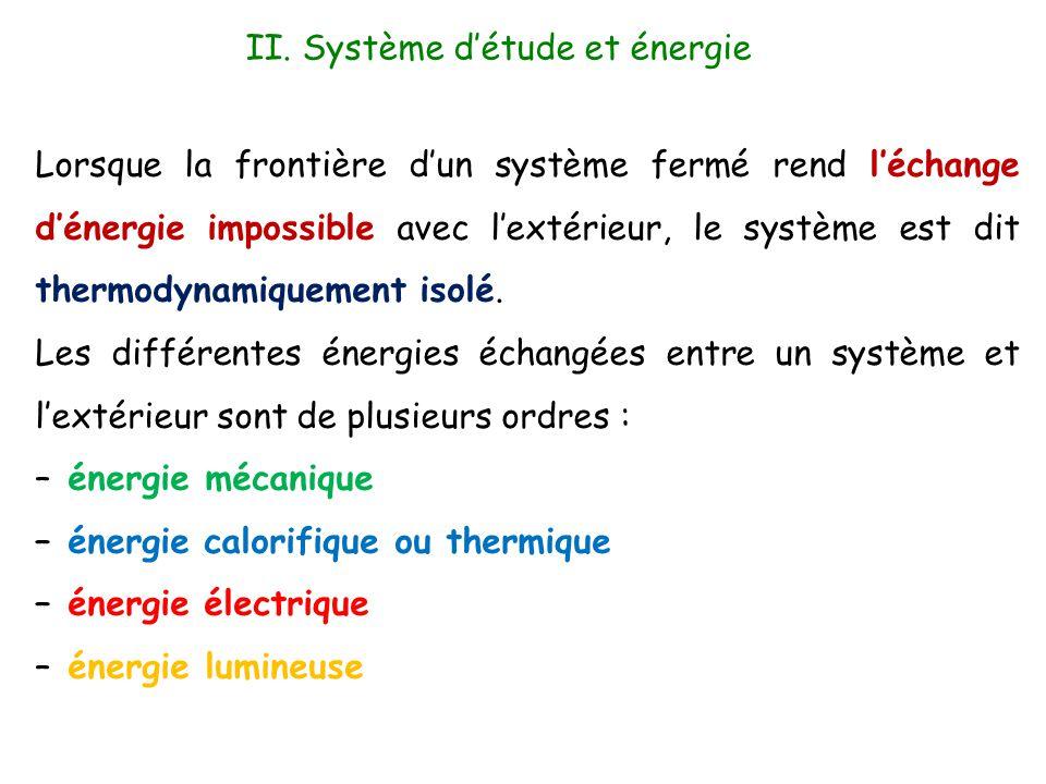 II. Système d'étude et énergie