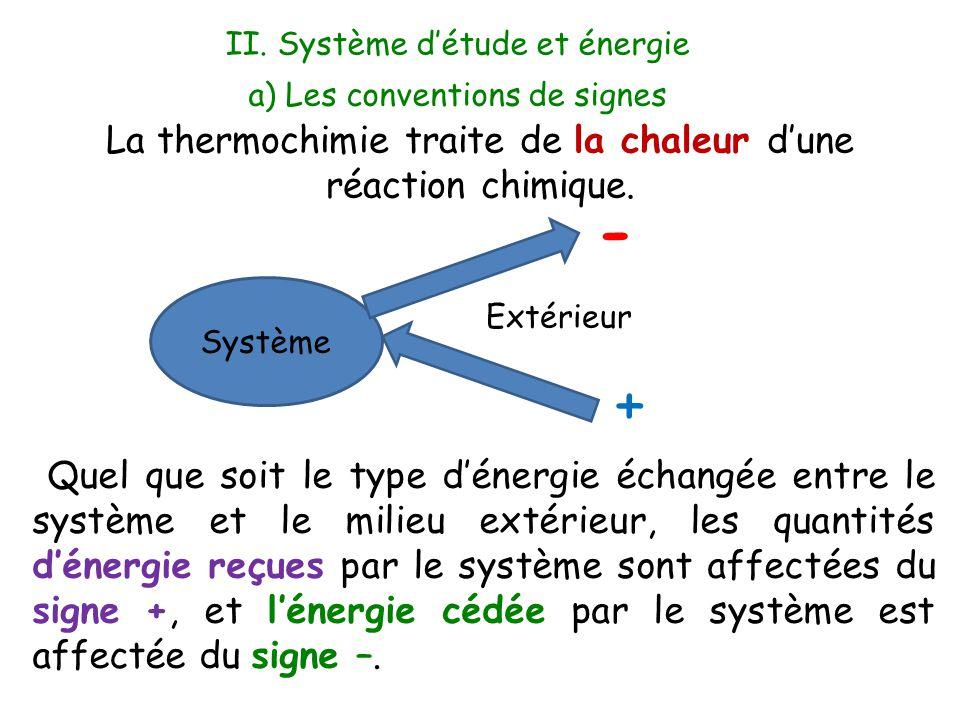 - + La thermochimie traite de la chaleur d'une réaction chimique.