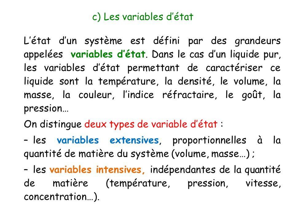 c) Les variables d'état