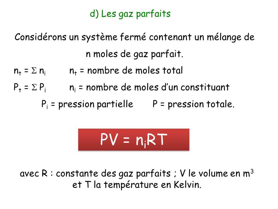 PV = niRT d) Les gaz parfaits