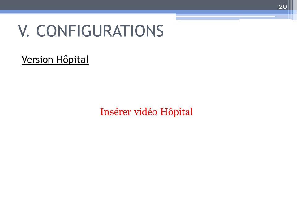 V. CONFIGURATIONS Version Hôpital Insérer vidéo Hôpital