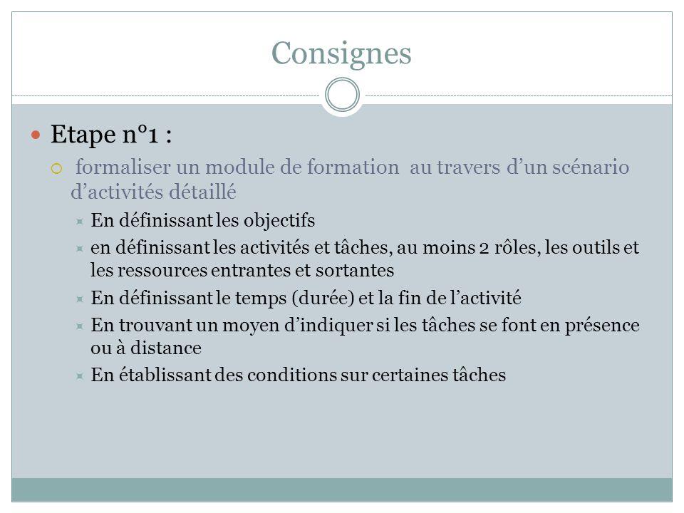 Consignes Etape n°1 : formaliser un module de formation au travers d'un scénario d'activités détaillé.