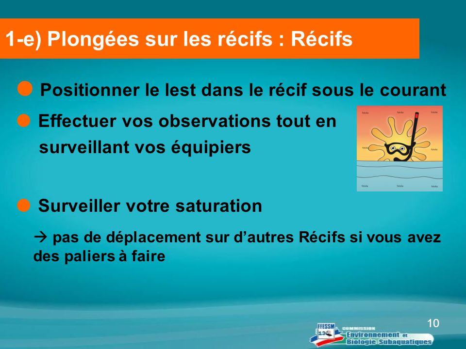 1-e) Plongées sur les récifs : Récifs