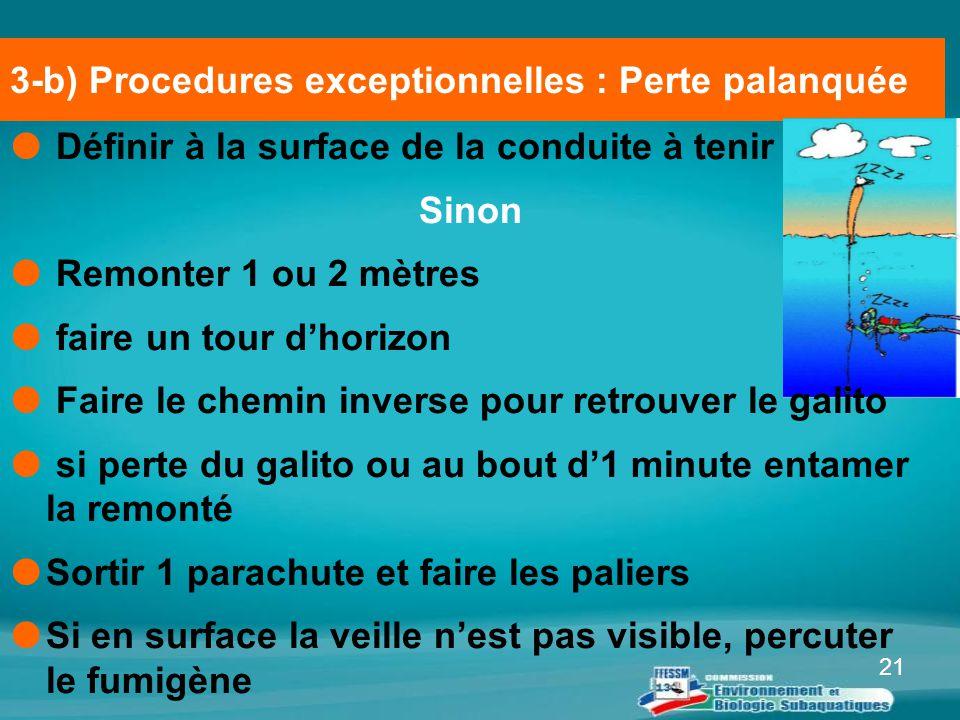 3-b) Procedures exceptionnelles : Perte palanquée