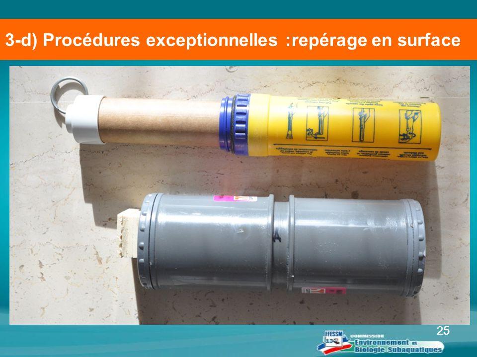 3-d) Procédures exceptionnelles :repérage en surface