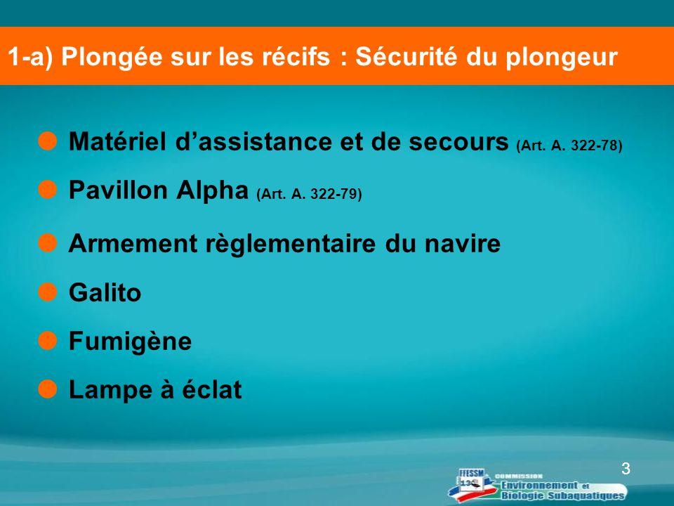 1-a) Plongée sur les récifs : Sécurité du plongeur