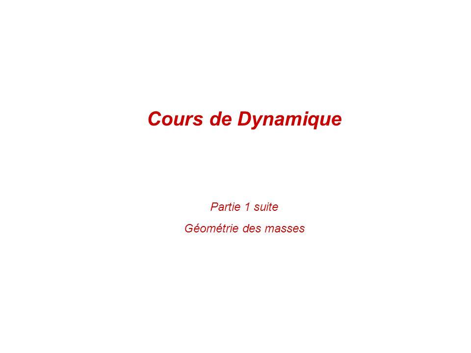 Cours de Dynamique Partie 1 suite Géométrie des masses