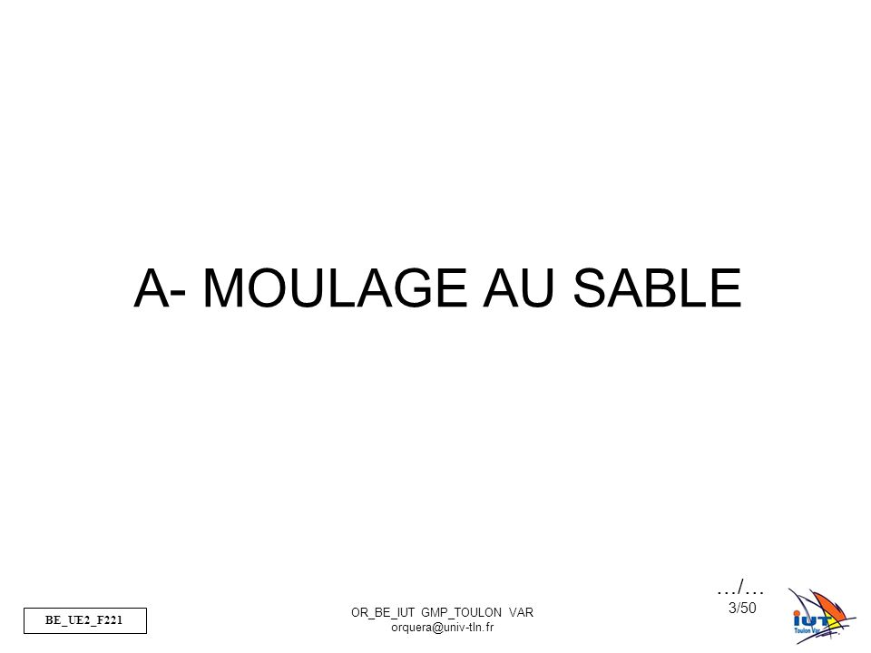 A- MOULAGE AU SABLE …/…