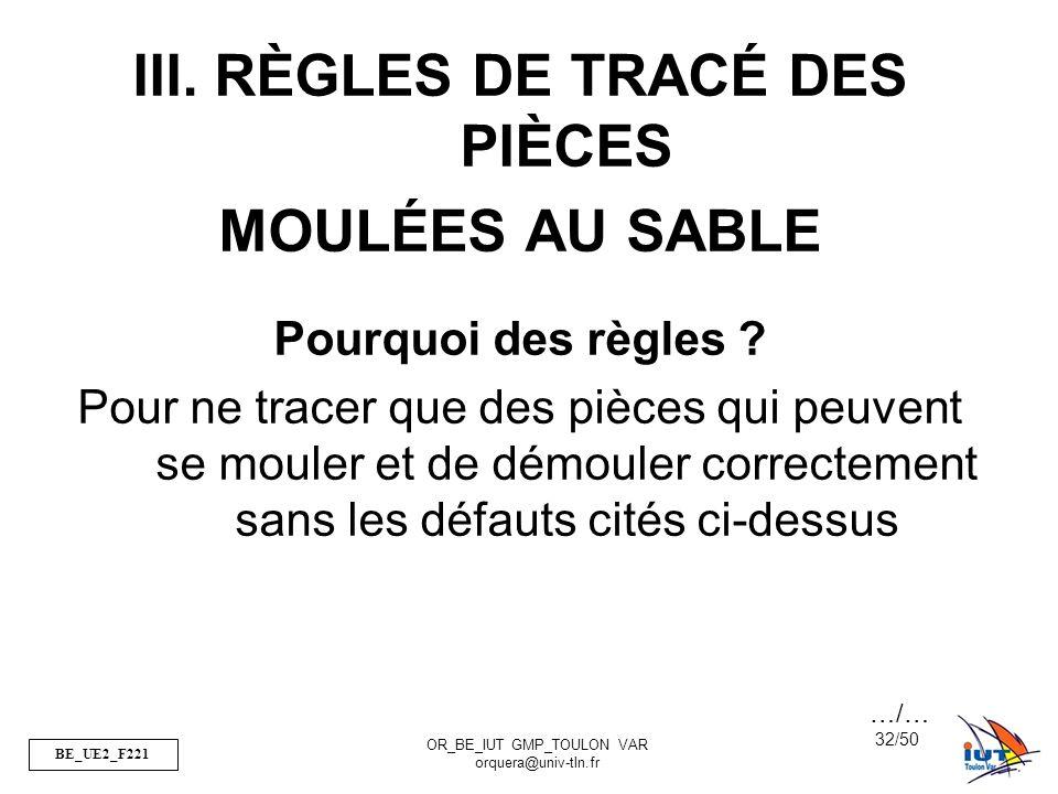 III. RÈGLES DE TRACÉ DES PIÈCES