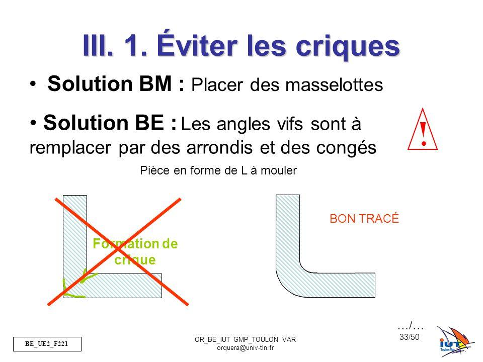 III. 1. Éviter les criques Solution BM : Placer des masselottes