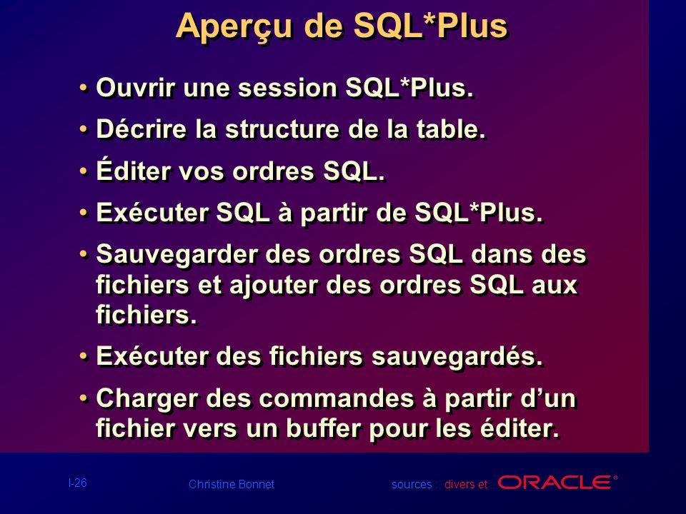 Aperçu de SQL*Plus Ouvrir une session SQL*Plus.