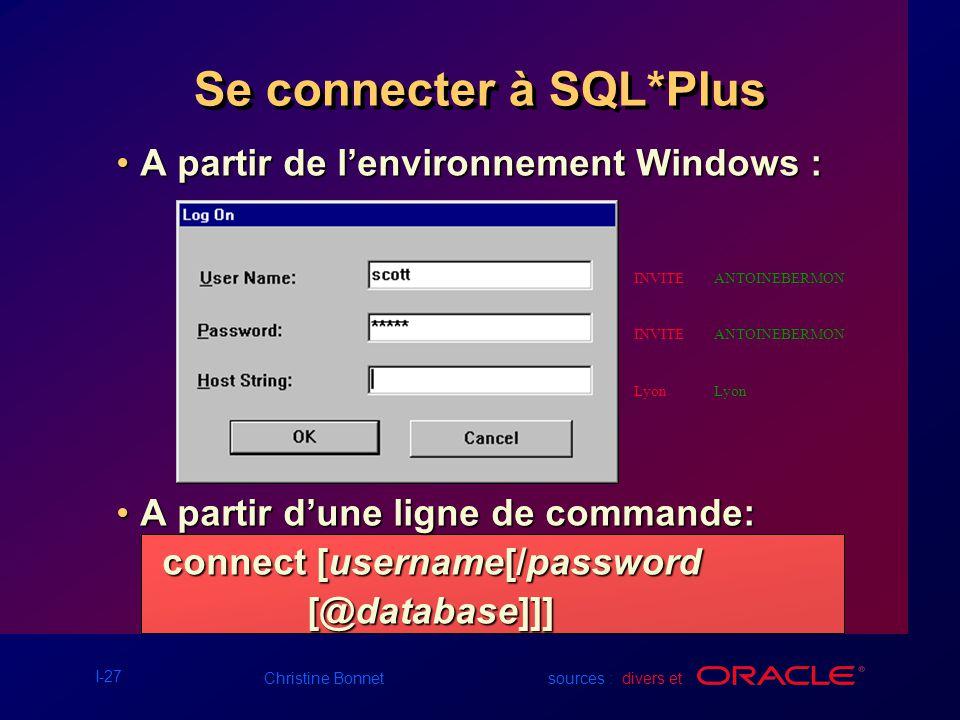 Se connecter à SQL*Plus