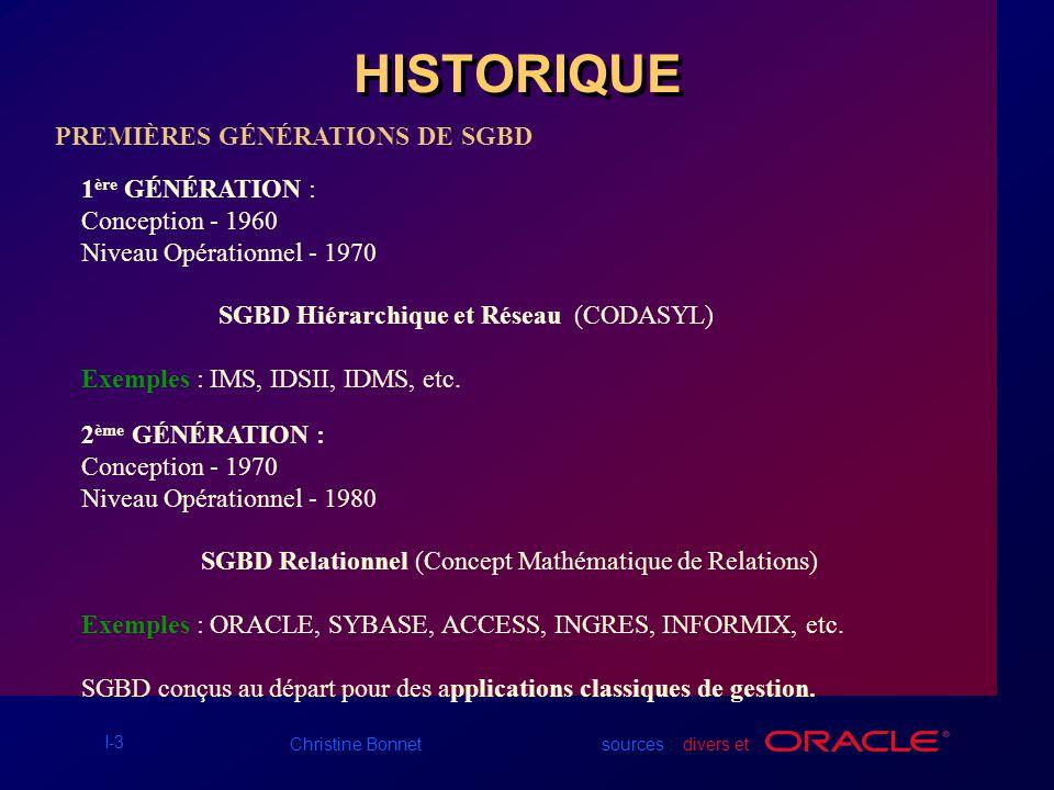 HISTORIQUE PREMIÈRES GÉNÉRATIONS DE SGBD 1ère GÉNÉRATION :