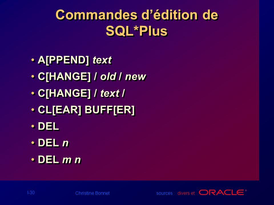 Commandes d'édition de SQL*Plus