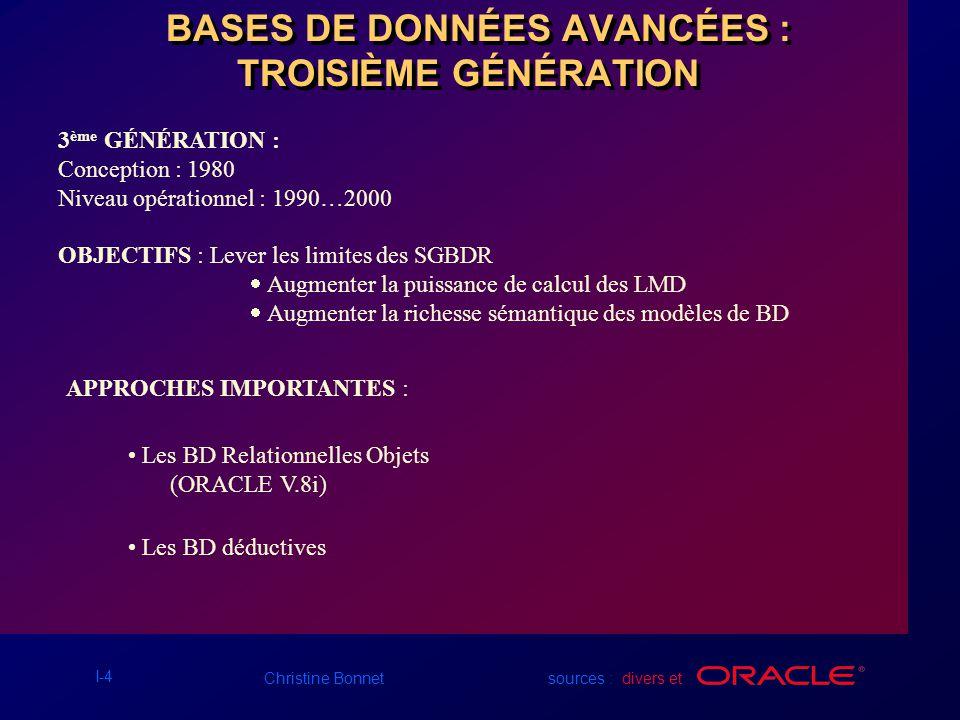 BASES DE DONNÉES AVANCÉES : TROISIÈME GÉNÉRATION