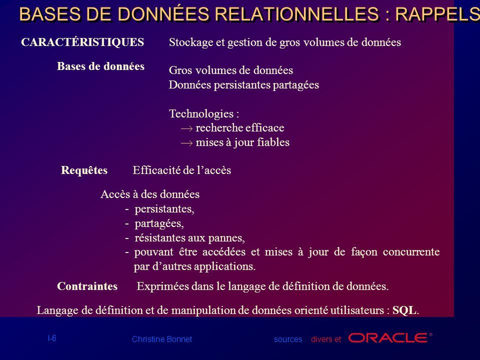 BASES DE DONNÉES RELATIONNELLES : RAPPELS