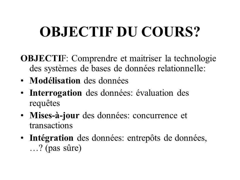 OBJECTIF DU COURS OBJECTIF: Comprendre et maitriser la technologie des systèmes de bases de données relationnelle:
