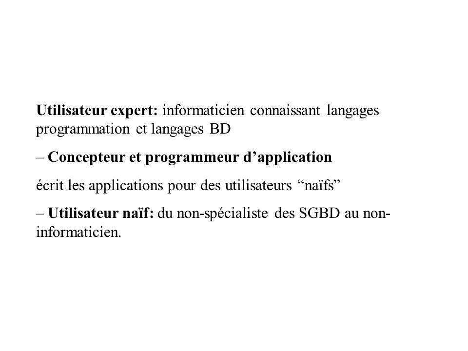Utilisateur expert: informaticien connaissant langages programmation et langages BD