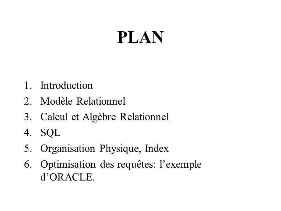 PLAN Introduction Modèle Relationnel Calcul et Algèbre Relationnel SQL