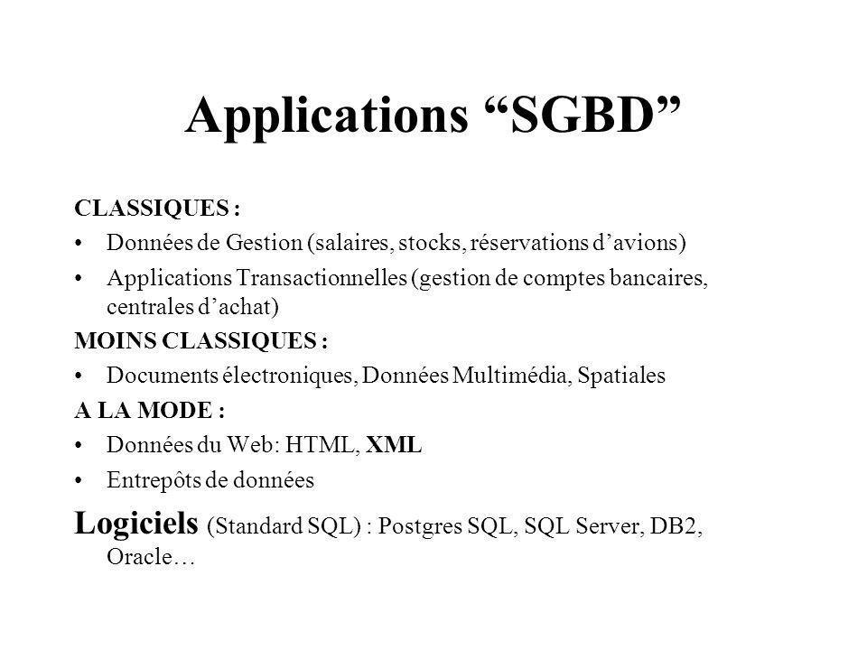 Applications SGBD CLASSIQUES : Données de Gestion (salaires, stocks, réservations d'avions)