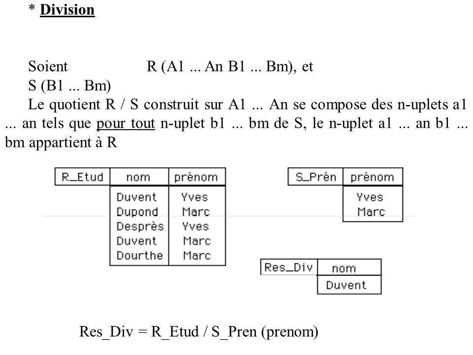 * Division Soient R (A1 ... An B1 ... Bm), et. S (B1 ... Bm)