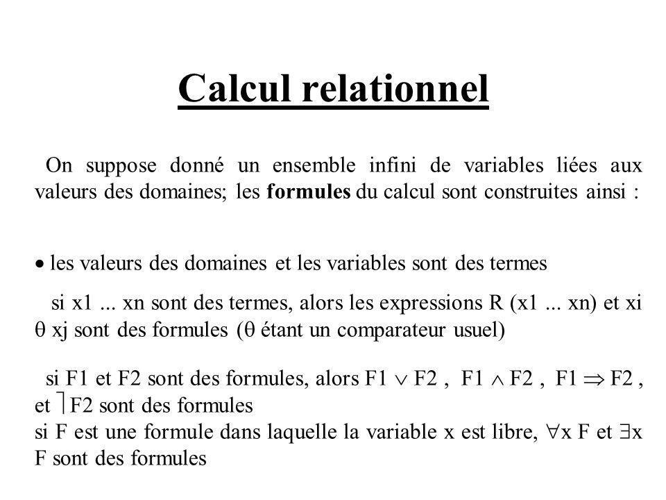 Calcul relationnel On suppose donné un ensemble infini de variables liées aux valeurs des domaines; les formules du calcul sont construites ainsi :
