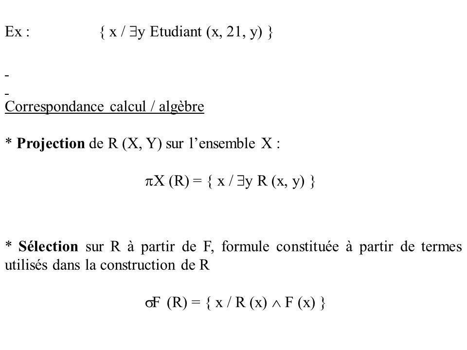 Ex : { x / y Etudiant (x, 21, y) }