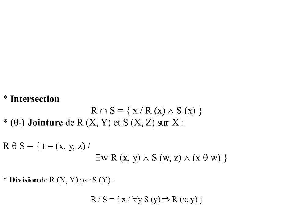* (-) Jointure de R (X, Y) et S (X, Z) sur X :