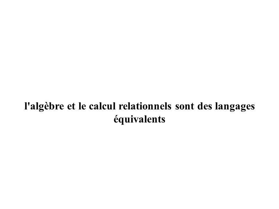 l algèbre et le calcul relationnels sont des langages équivalents